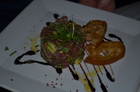 Ahi Tuna Tartare served with Avocado, Capers and Balsamic Essence