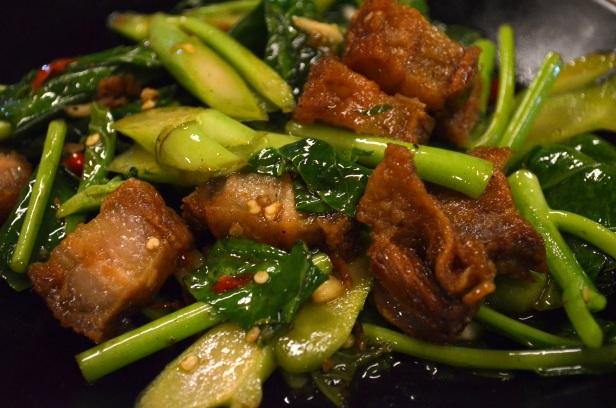 House of Haos Sri Nuan Lamai Koh Samui Thailand Crispy Pork Gailan