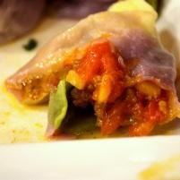 Tomato, mushroom, onion, beef dumpling