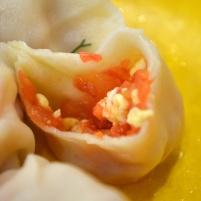 Scrambled egg and tomato dumplings
