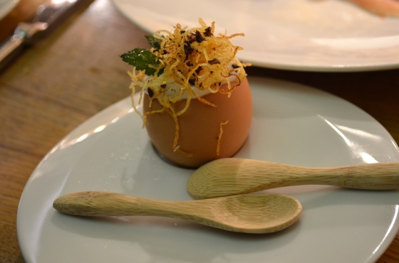House of Haos Aldea New York City Farm Egg Bacalhau Potato Crisp
