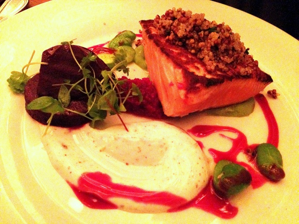 House of Haos Commerce West Village NYC New York Ora King Salmon Spiced Yogurt Beets Favas Crispy Quinoa