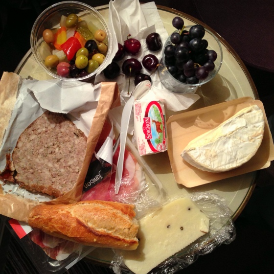 House of Haos Paris Picnic Pate de Campagne Pickles Cherries Goat Cheese Brillat Savarin Pecorino Pepper