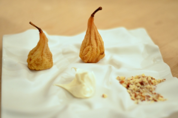 House of Haos Restaurant David Toutain Paris Dried Pears Creme Fraiche Chopped Nuts