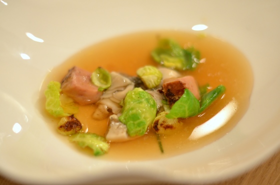 House of Haos Restaurant David Toutain Paris Oyster Foie Gras Roasted Brussels Sprouts Potato Consomme