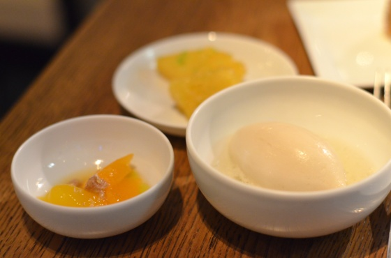House of Haos Spring Restaurant Paris Dessert Trio Sorbet Clementine Pineapple