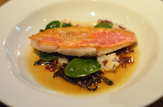 House of Haos Spring Restaurant Paris Red Mullet Filet Baby Spinach Squid Galician Beef
