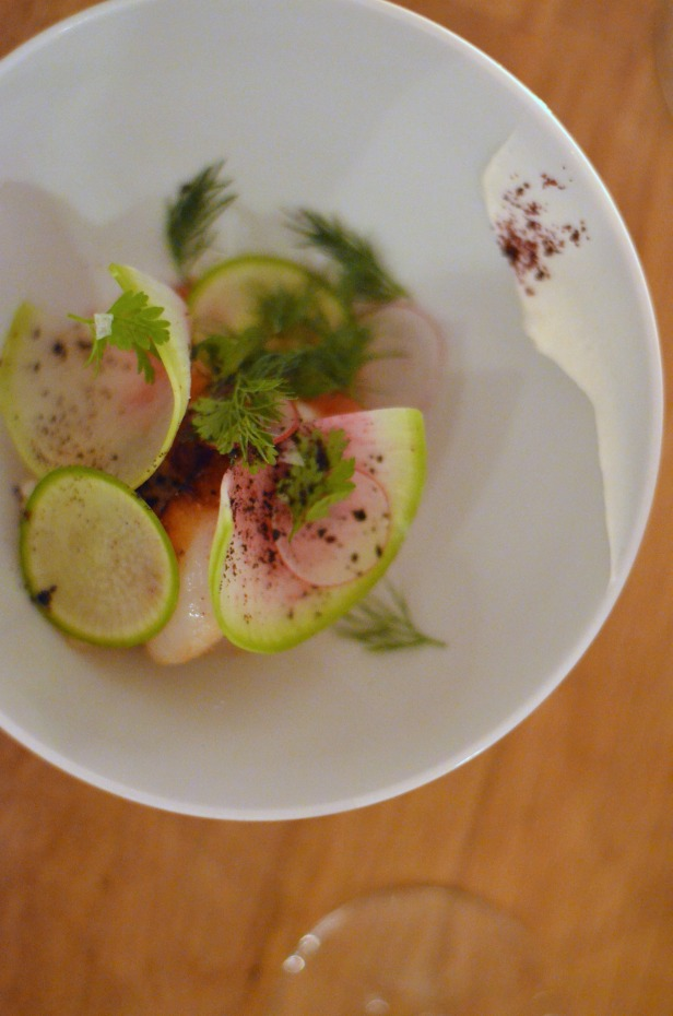 House of Haos Verjus Paris France Watermelon Radish Orange Scallops Seared Tartare