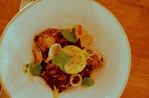 House of Haos Verjus Paris France Wild Boar Confit Slow-poached Egg Mustard Seeds