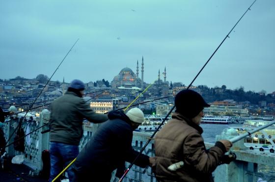 House of Haos Istanbul Turkey Fishing Galata Bridge Suleymaniye Camii