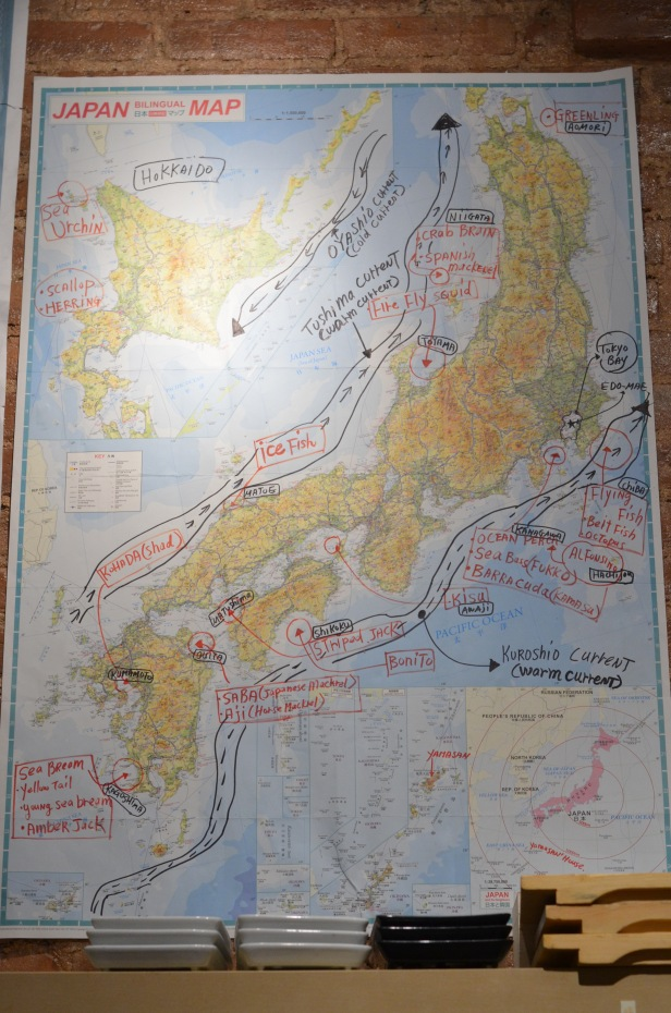 House of Haos Tanoshi Sushi Upper East Side NYC New York City Wall Map