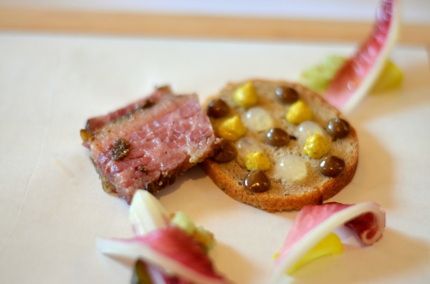 House of Haos Eleven Madison Park Flatiron NYC Tasting Menu Pastrami Pickles Rye Mustard 2
