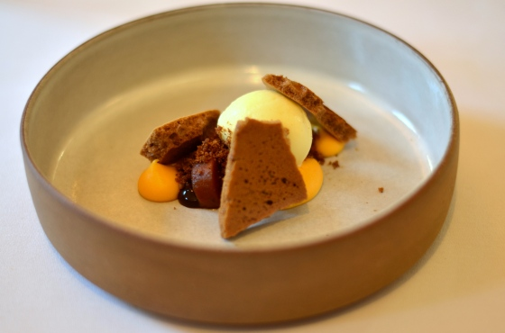 House of Haos Eleven Madison Park Flatiron NYC Tasting Menu Sweet Potato Curd Espresso Meringue Orange Sorbet