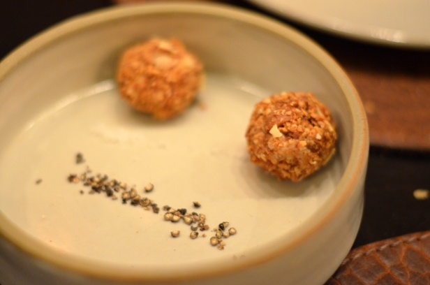 House of Haos Betony Midtown NYC Foie Gras Bonbons Cashew Black Pepper