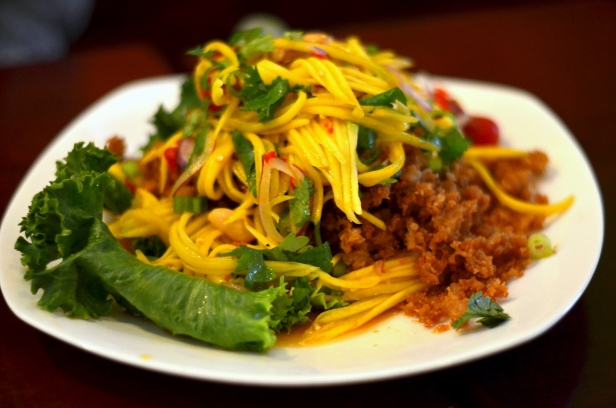 House of Haos Ayada Thai Woodside Queens  NYC Fried Catfish Mango Salad