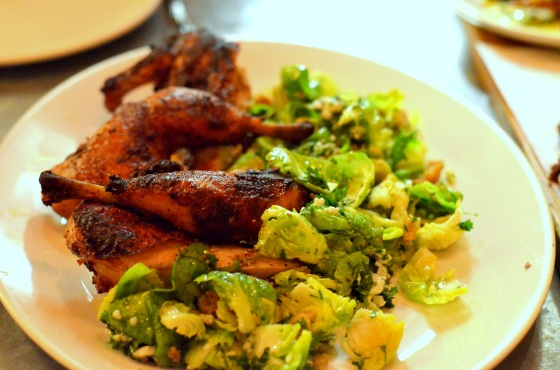 House of Haos Il Buco Alimentari Noho NYC Roast Chicken Brussels Sprouts