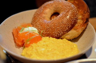 House of Haos The Dutch Soho NYC Soft Scrambled Eggs Salmon Bagel