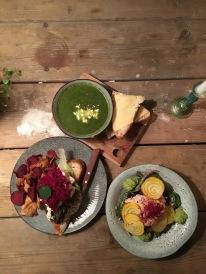 Tartine, soup, and salmon beet salad at Snickerbacken 7 Cafe Stockholm Sweden