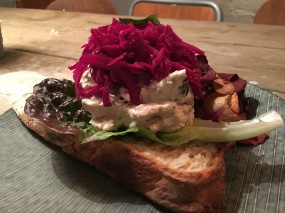 Chicken salad tartine at Snickerbacken 7 Cafe Stockholm Sweden