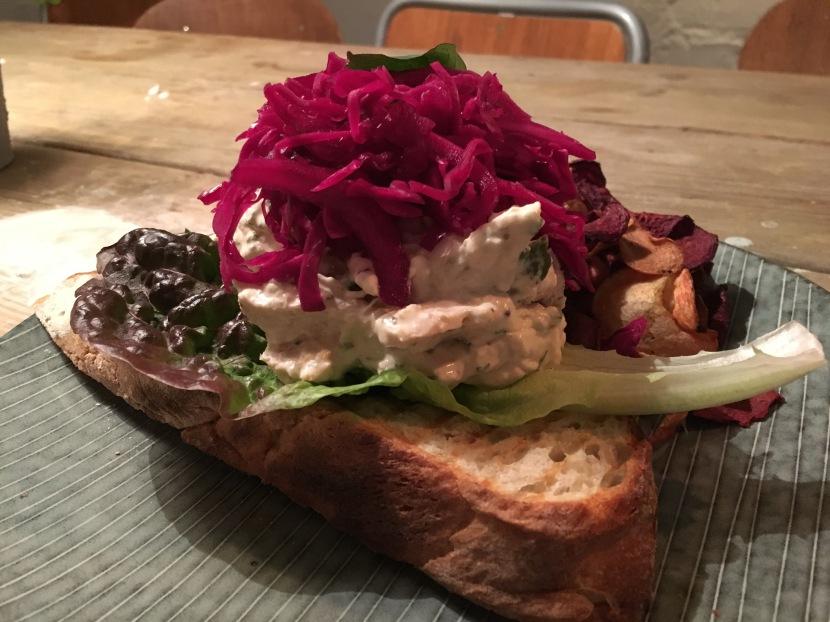 Chicken salad tartine at Snickerbacken 7 Cafe Stockholm Sweden