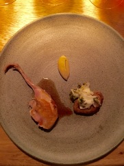 Quail from Vinkol with celeriac in dandelion capers, grilled spruce cream at Oaxen Krog Stockholm