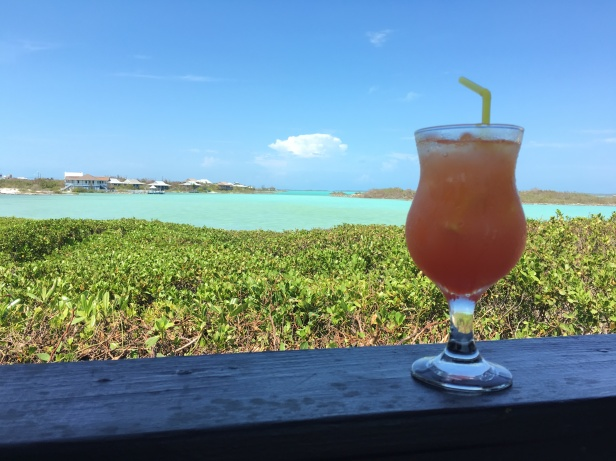 Iced tea with a view at Las Brisas Chalk Sound Providenciales Turks & Caicos