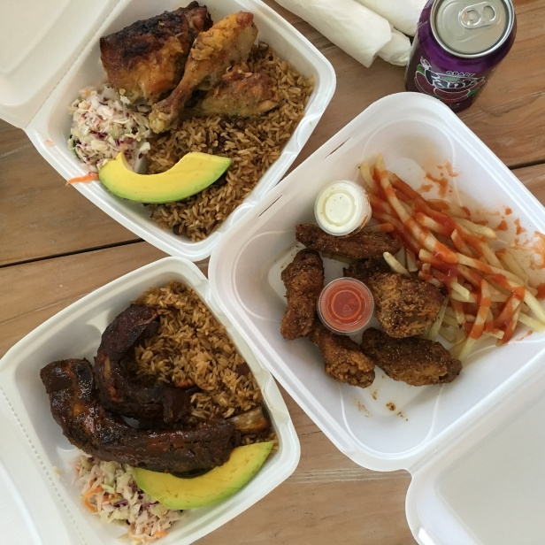 BBQ pork ribs dirty rice at Smokey's Grace Bay Providenciales Turks & Caicos Caribbean