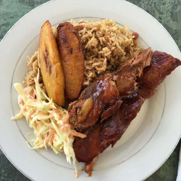 Ribs Plantains Dirty Rice Cole Slaw at Three Queens Bar Restaurant Providenciales Turks & Caicos Caribbean